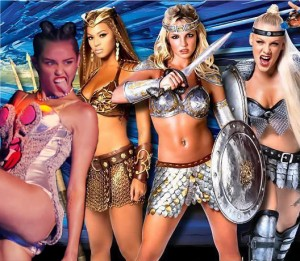 warrior goddess miley cyrus, beyonce, britney spears, pink